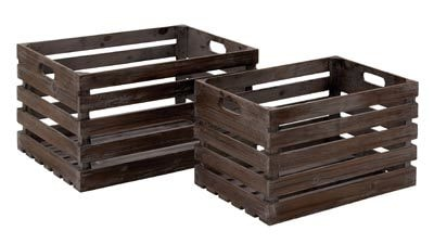 Set of 2 Wood Storage Crates