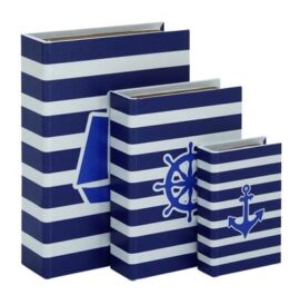 Set of Three Nautical Book Boxes