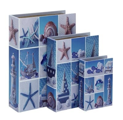Set of Three Beach Book Boxes