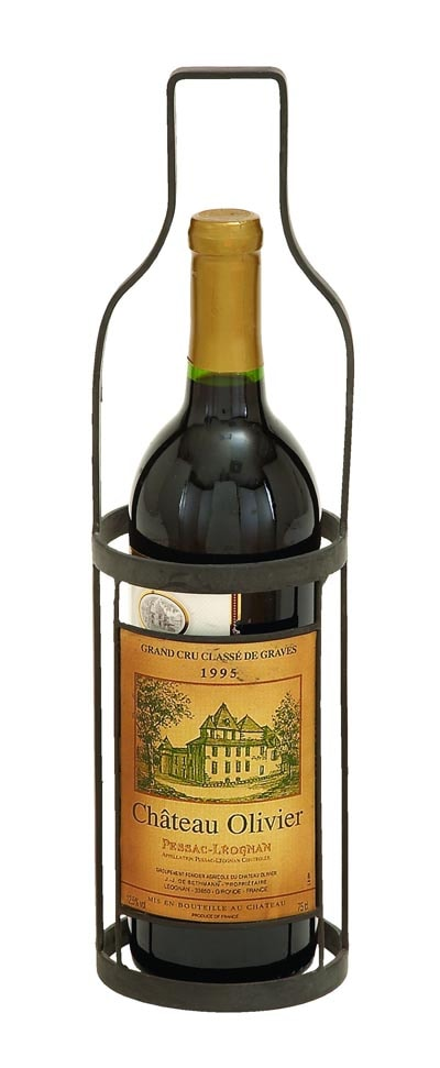 Single bottle shaped wine stand globe imports - Wine rack shaped like wine bottle ...