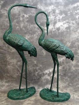 Verdigris Crane Pair