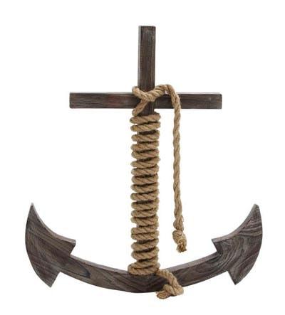 Decorative Wooden Christian Anchor Globe Imports