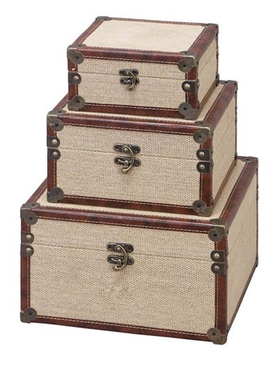 Set of 3 Wood and Burlap Boxes