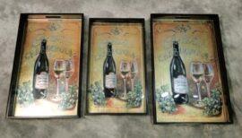 Set of Three Wine Trays