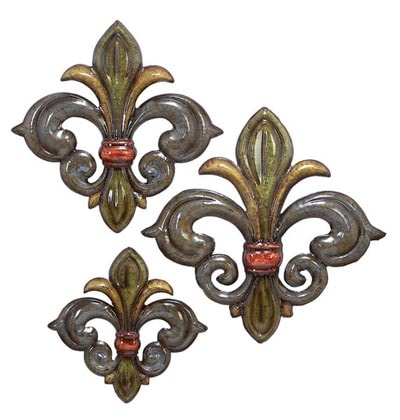 Set of 3 Fleur De Lis Wall Decor