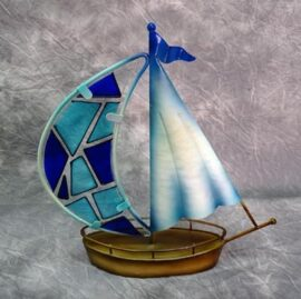 Decorative Metal and Glass Sailboat