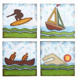 Assorted Water Sports Themed Wall Plaques