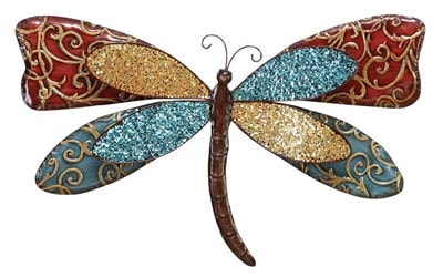 Decorated Metal Dragonfly Wall Decor - Globe Imports