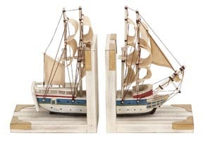Wooden Ship Bookends
