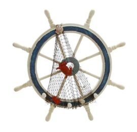 Decorated Wooden Ship's Wheel