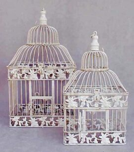 Set of 2 Metal Bird Cages
