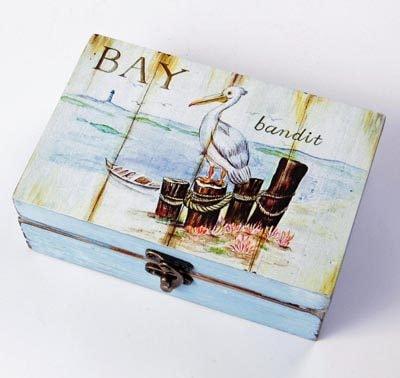 Wood Box with Pelican Scene