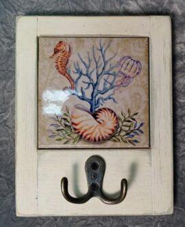 Sea Life Tile and Wood Hook