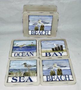 Nautical Coaster Set with Stand