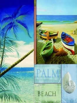 Fiberglass Palm and Beach Wall Decor