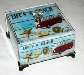 Wood and Glass Retro Life's a Beach Box