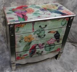Silver Leaf Tropical Birds Cabinet