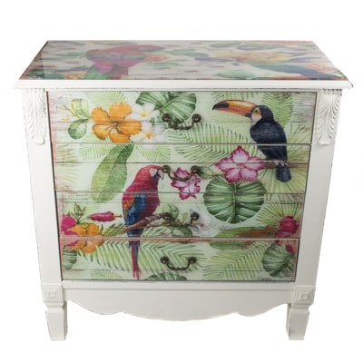 White Wash Tropical Birds Cabinet