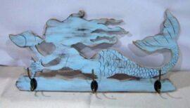 Wood Wall Mermaid With Hooks