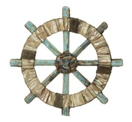 Rustic Wood and Rope Ship's Wheel