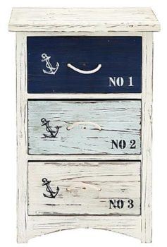 Wooden Nautical Three-Drawer Cabinet