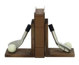 Golf Clubs and Balls Bookend Pair