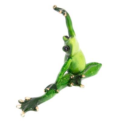 Green Stretching Yoga Frog Globe Imports