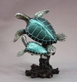 Two Turtles on Coral Figurine