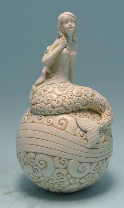 Ivory Colored Mermaid On Ball Globe Imports