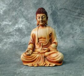 Wood Look Buddha Figurine