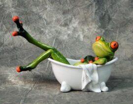 Frog in Bath Tub Figurine