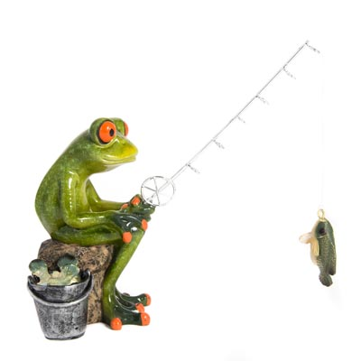 Fishing Frog Figurine Globe Imports