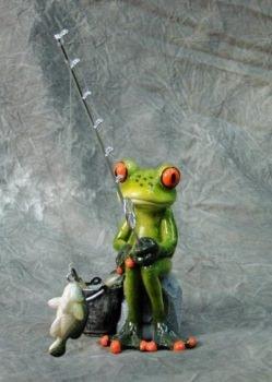 Fishing Frog Figurine