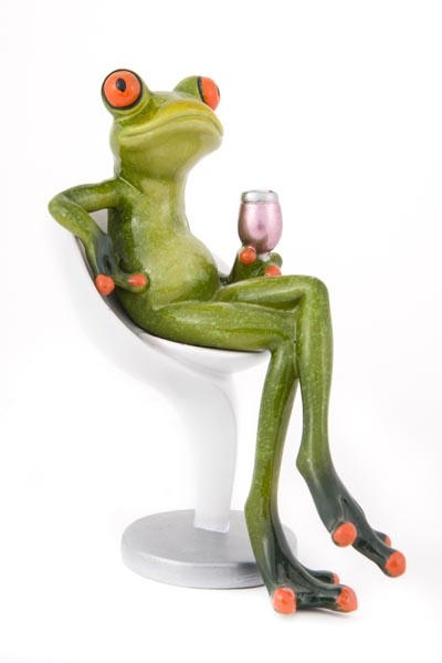 Frog On Chair With A Glass Of Wine Globe Imports