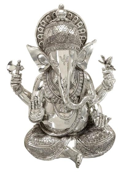 Shiny Silver Ganesh Statue