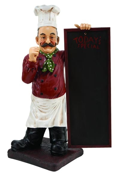 Chef With Chalkboard Globe Imports