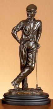 Bronze-Colored Golfer Statue