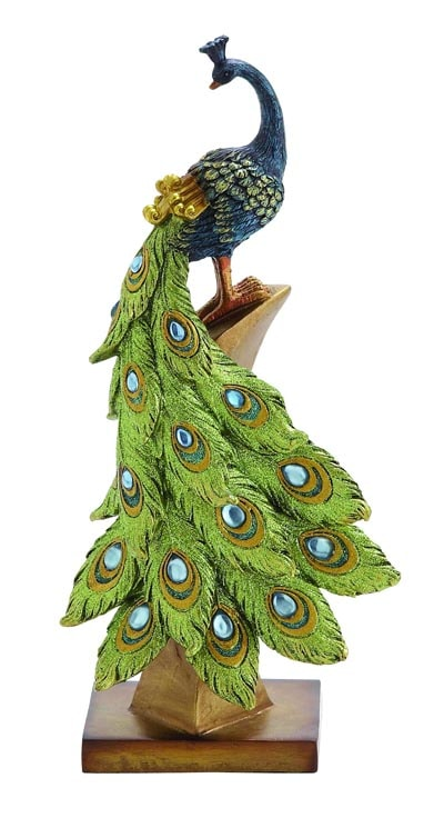 Peacock On Perch Figurine Globe Imports