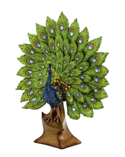 Peacock FIGURINE with Fanned Tail
