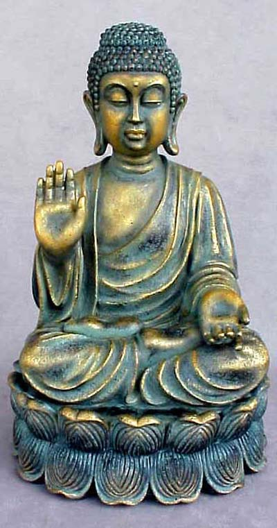Polyresin Verdigris Buddha Globe Imports