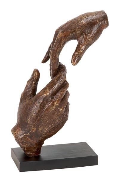 Artistic Sculpture Of Two Hands Touching Globe Imports