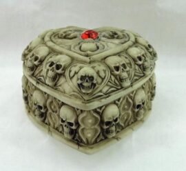 Heart-Shaped Skulls Trinket Box