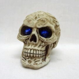 Carved Skull with Blue Eyes