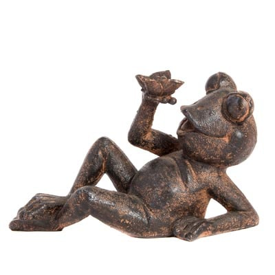 Frog FIGURINE with Butterfly