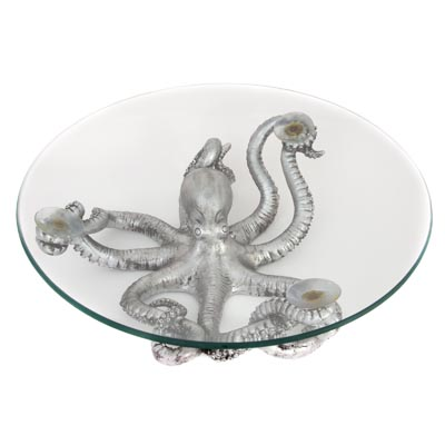 Silver Octopus Bowl Globe Imports