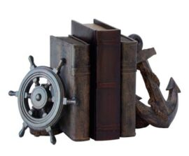 Wheel and Anchor with Books Bookend Pair