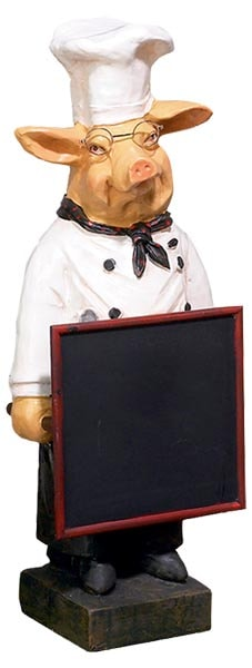 Pig Chef With Chalkboard Globe Imports