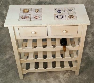 Wooden Coastal Wine Cabinet Globe Imports