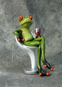 Frog on Chair with a Glass of Wine