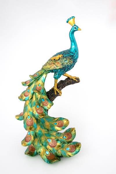 Peacock On Branch Figurine Globe Imports
